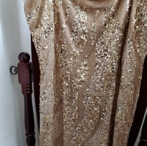 Gold sequined  knee length  dress
